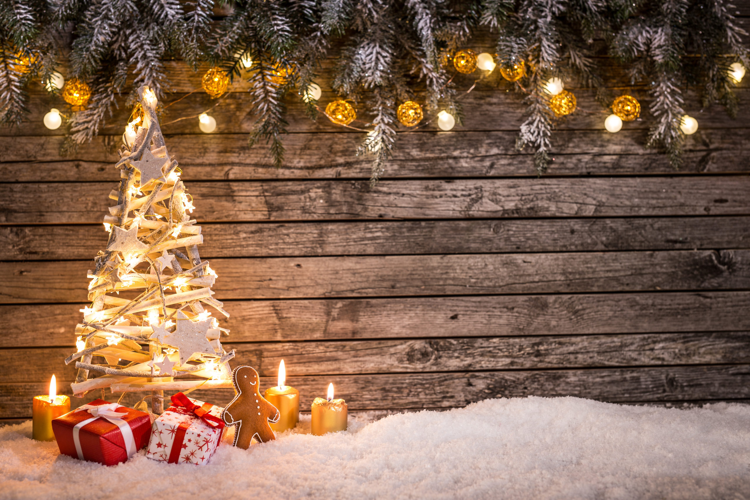 Christmas Tree With Wooden Background