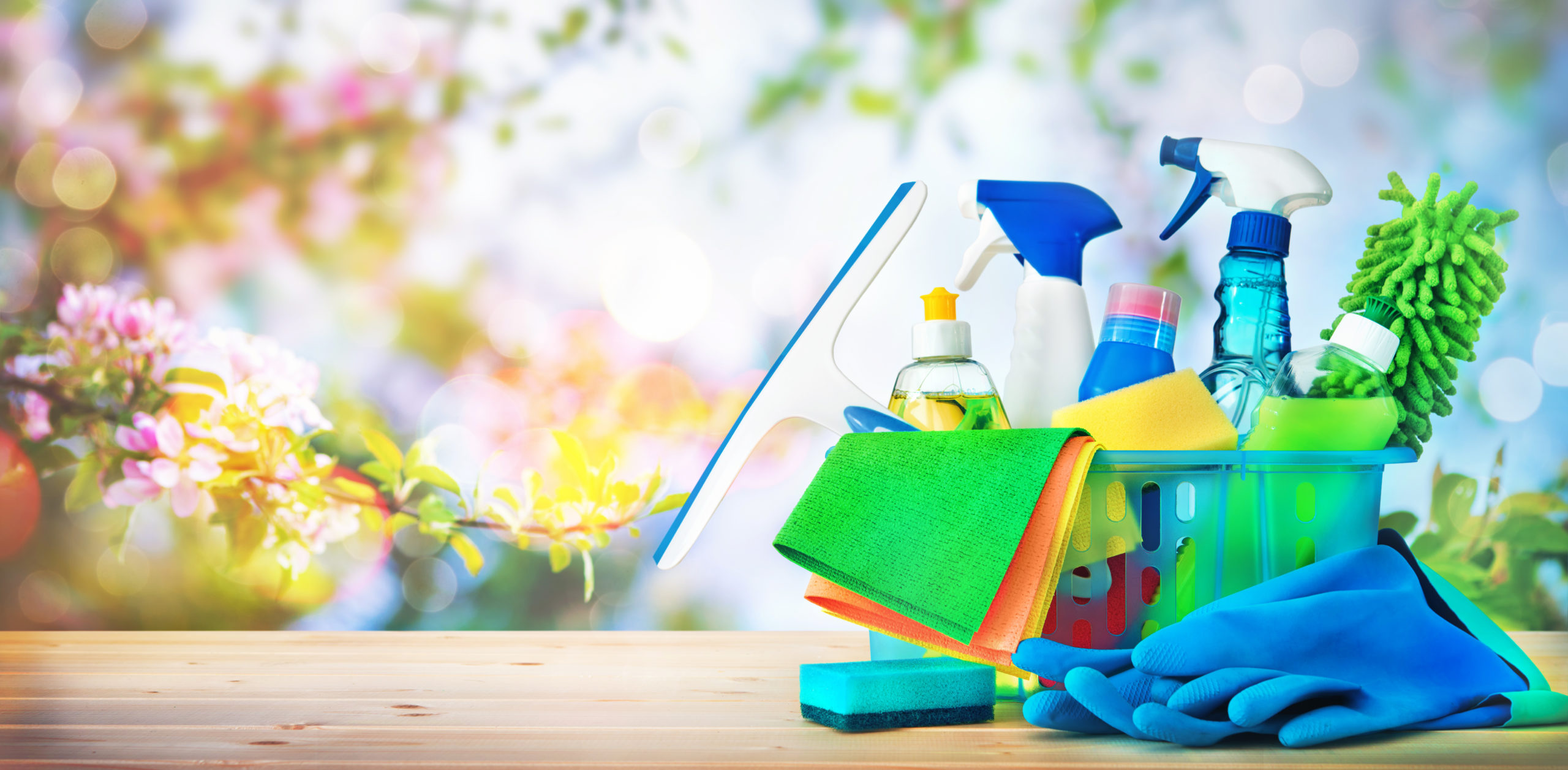 Cleaning Products Against Spring Background