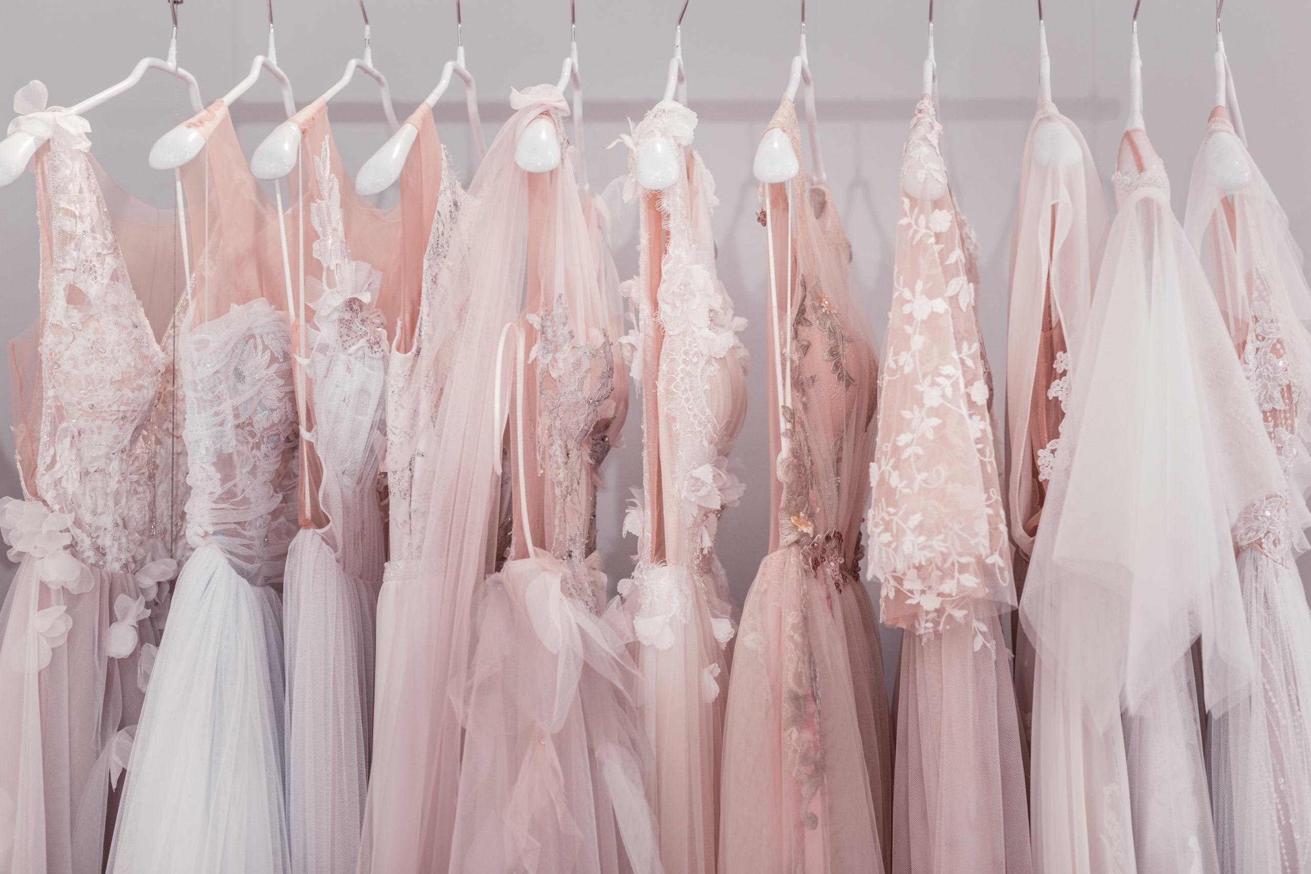 Dresses Hanging Up On Rail