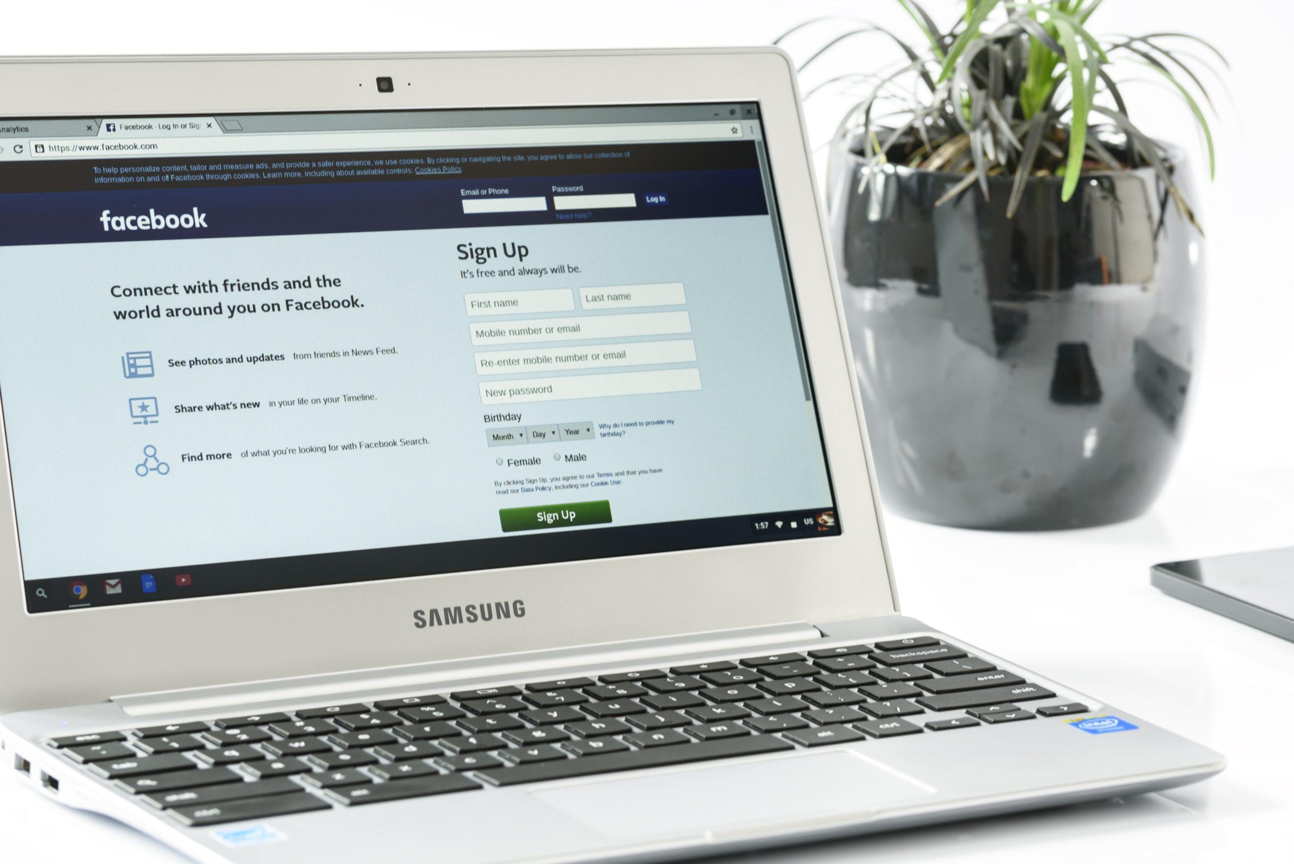 Facebook Login On Laptop Screen