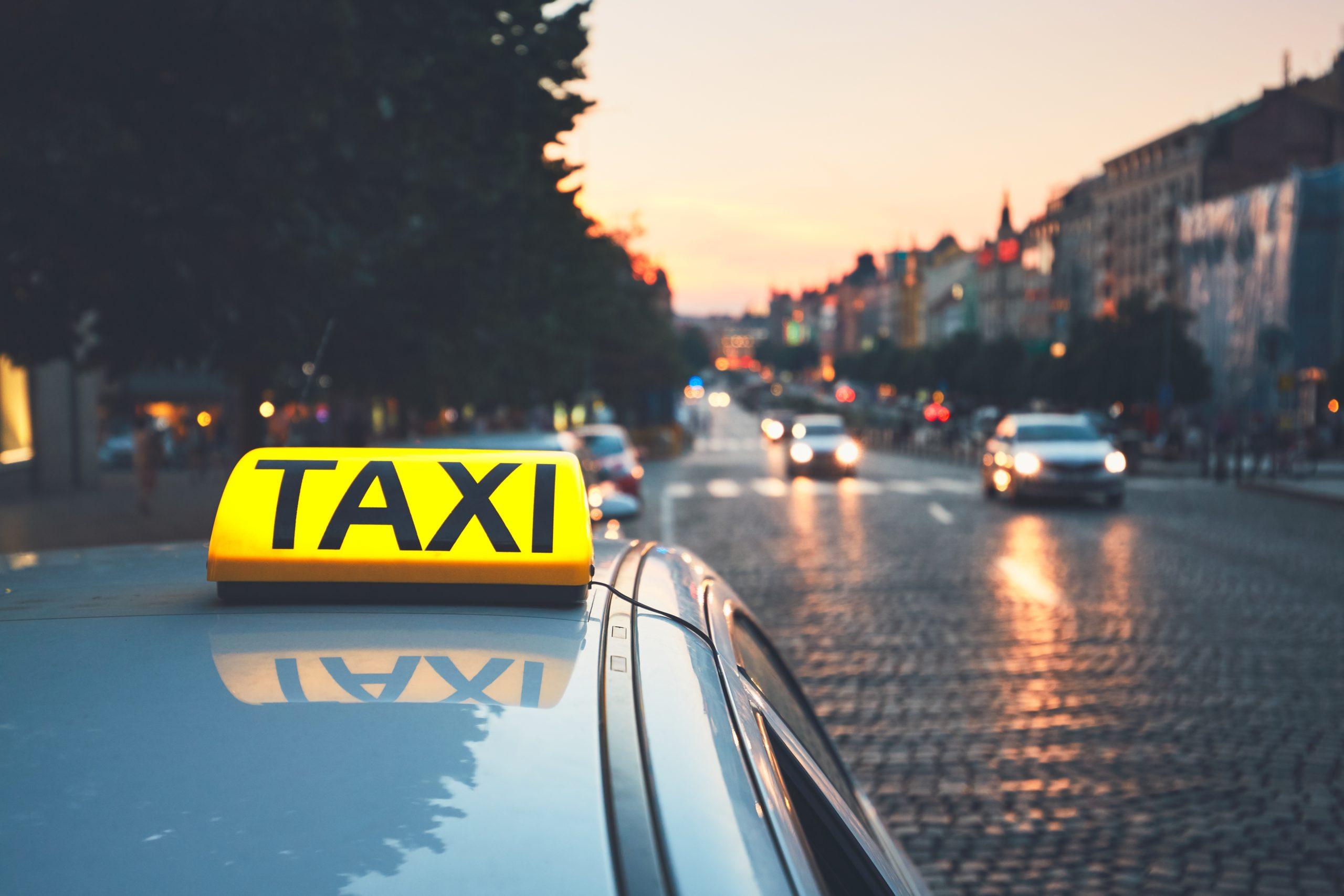 Taxi Car On City Street