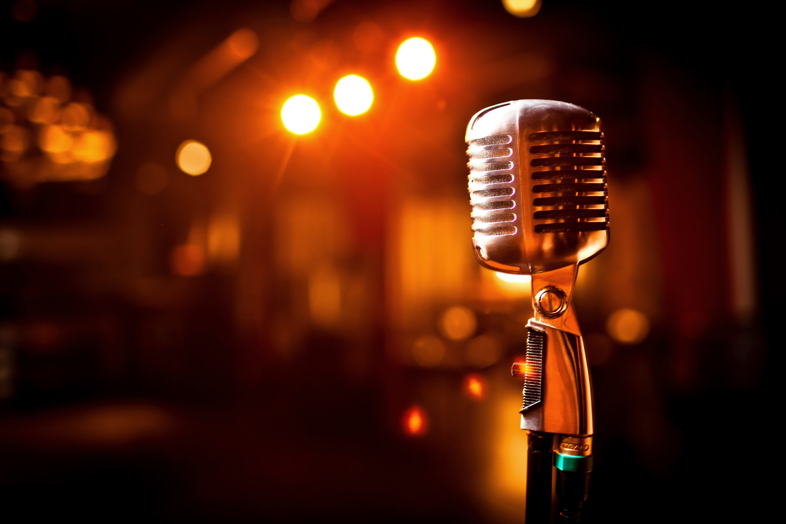 Retro Microphone On Stage