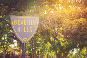 Beverly Hills Sign At Sunset
