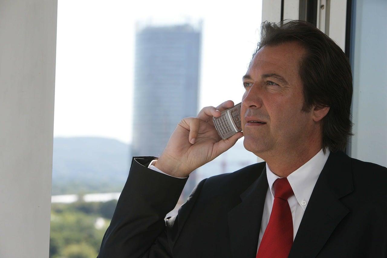 Businessman Speaking On Telephone