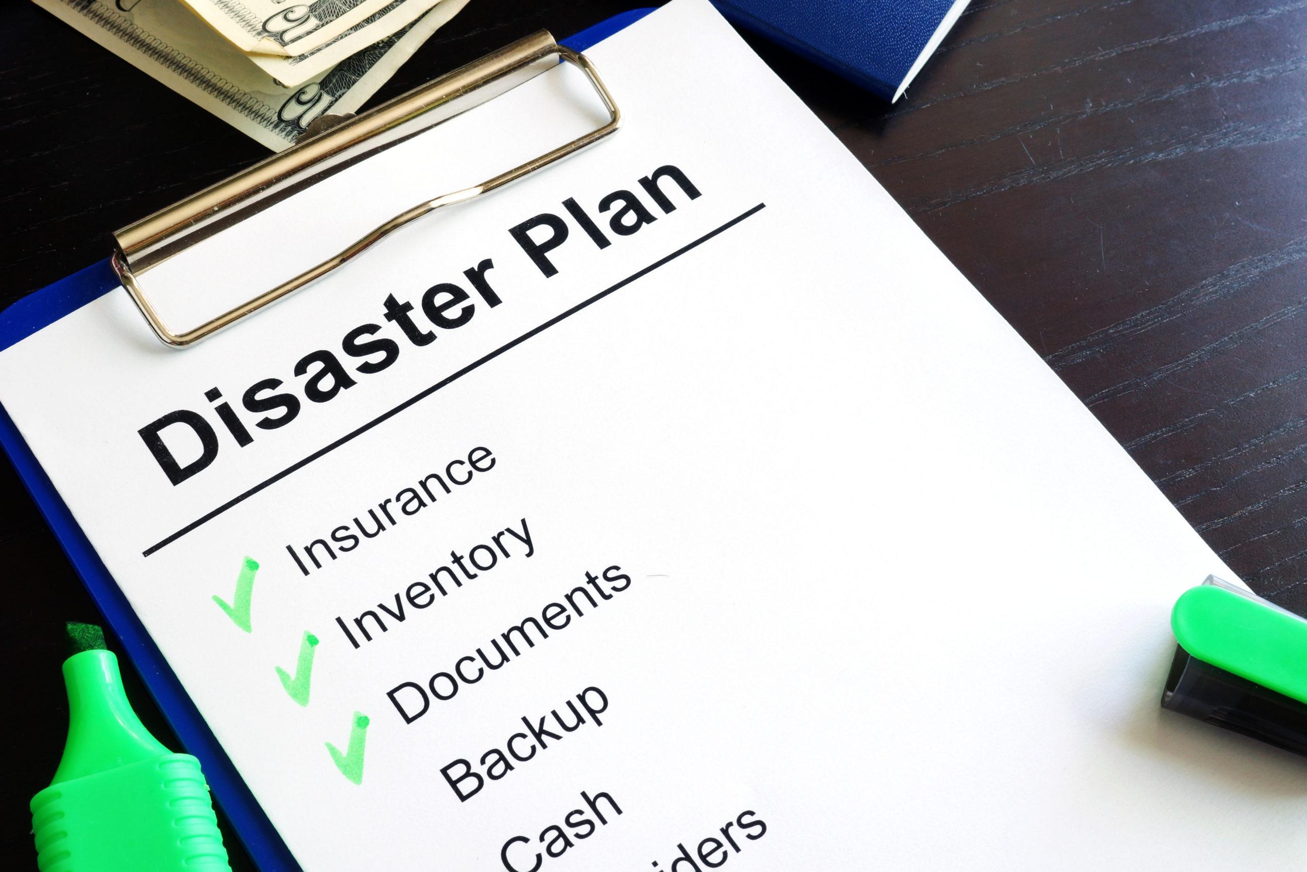 Disaster Plan Check List
